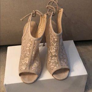M. Gemi lace peep toe booties